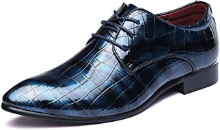 Men's Shoes Stylish and Comfortable Men's Lace Up Loafers Shoes PU Leather Faux Snake Skin Texture Business Lined Dress Patent Oxfords wg (Color : Red, Size : 46 EU)