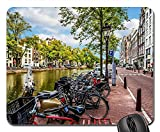 Mauspad Amsterdam Street Canal Fahrrad Fahrradreisen Gaming Mousepad Anti Rutsch Gummiunterseite Ultradünner Gaming Mausmatte Multifunktionales Mausunterlage Für Laptop/Pc, 25X30 Cm