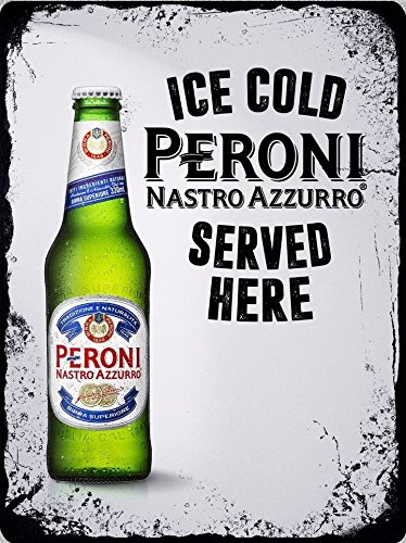 Novelty Retro Vintage Wall tin Plaque 20x15cm - Ideal for Pub shed Bar Office Man Cave Home Bedroom Dining Room Kitchen Gift - Beer Lager Peroni Nastro Azzurro - Decorative Sign