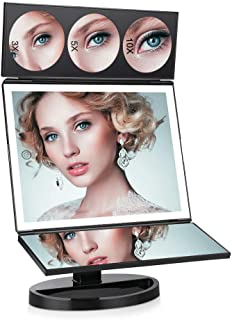FASCINATE Large Lighted Makeup Vanity Mirror (X-Large Model), Trifold Vanity Mirror with Lights 10X/5X/3X Magnification, Touch Screen, 360° Free Rotation, Double Power Supply Light Up Mirror (Black)