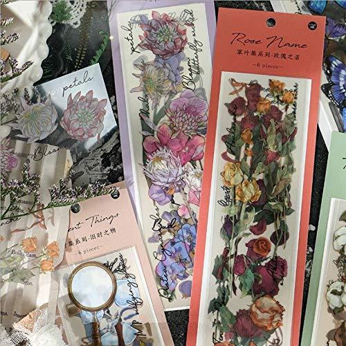 PMSMT Jardín de Mariposas 6 uds Pegatinas de álbum de Recortes Retro Vintage para Hacer Tarjetas álbum de Fotos DIY Pegatinas de decoración papelería Regalo