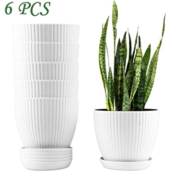 Miracliy 6 Inch Plastic Planters with Drainage Pallet White Plant Flower Pots Bulk,Set of 6