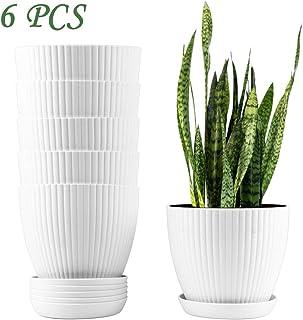 Miracliy 6 Inch Plastic Planters with Drainage Pallet White Plant Flower Pots Bulk,Set of 6