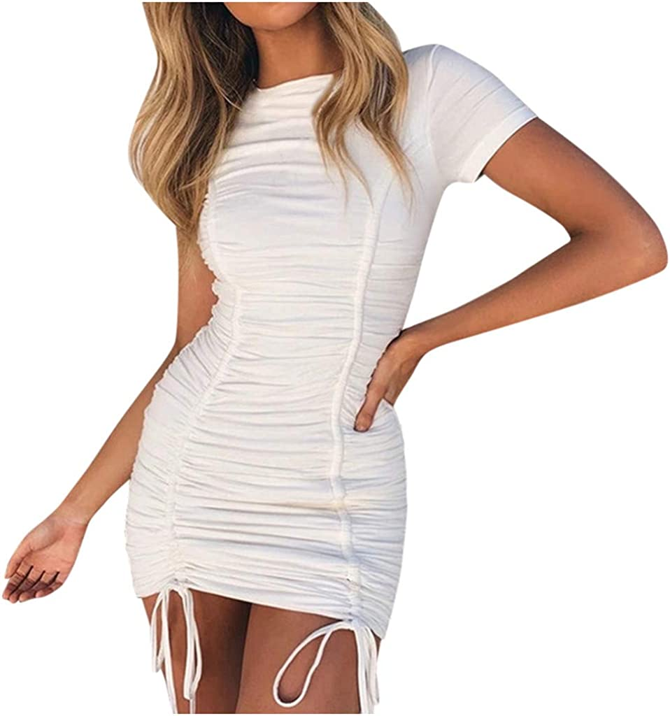 Mikey Store Women's Summer Fashion Hip Sexy Slim Sling Solid Short Sleeve Dress