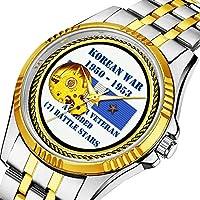 時計、機械式時計 メンズウォッチクラシックスタイルのメカニカルウォッチスケルトンステンレススチールタイムレスデザインメカニ (ゴールド)-028.7 バトルスター朝鮮戦争ベテラン