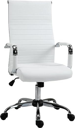 Vinsetto Bürostuhl Gaming Drehstuhl Chefsessel Wippfunktion höhenverstellbar gepolstert ergonomisch PU-Leder Schaumstoff Weiß 54x62x114 cm