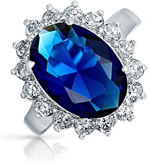 6Ct Royal Blue Oval Cubic Zirconia Simulated Sapphire CZ Crown Halo Engagement for Women Promise Ring Sterling Silver