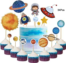 34Pcs DIY Astronaut Exploration Themed Solar System Cupcake Toppers Rocket Space Shuttle UFO Rocket Star Cake Picks for Kids Birthday Party