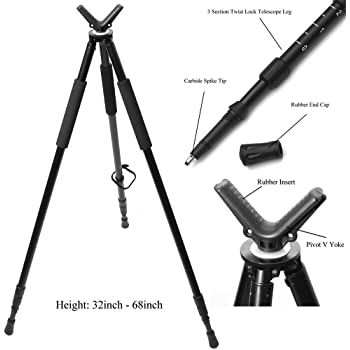 "Hammers Telescopic Shooting Tripod w/Pivot V Yoke Max. Height 68"""