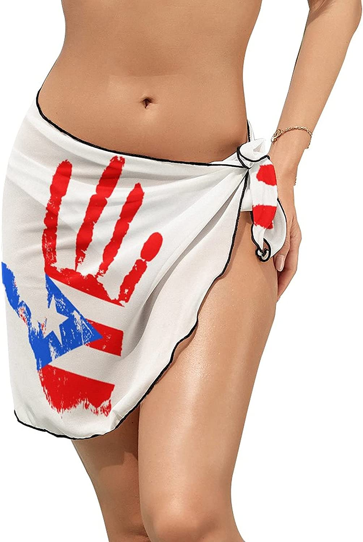 Women's Bikini Swimsuit Cover Up Puerto Rico Flag Handprint Summer Beach Wrap Skirt Pareo Sarong