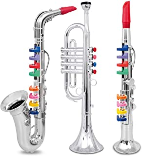 Tongina 2 Pieces Golden Saxophone 8 Colored Notes Wind Instrument ...