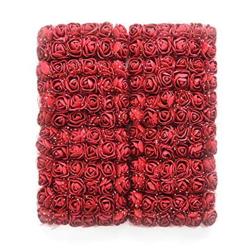 Mini Foam Rose Artificial Flowers Fake flower heads bulk wholesale for crafts For Home Wedding Car Decoration DIY Pompom Wreath Decorative Bridal Flower party Birthday Home Decor 144pcs 2cm (burgundy)