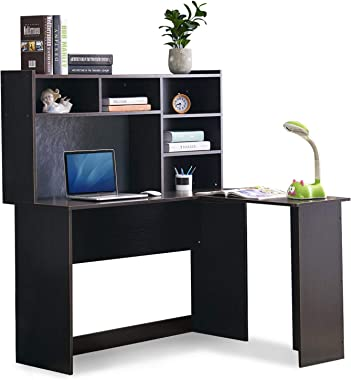 Mcombo Modern Computer Desk with Hutch L Shaped Gaming Desk Corner Desk with Shelves for Small Space Home Office Dark Brown 7