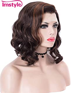 Imstyle Short Bob Lace Front Wigs Dark Brown Highlight Synthetic Wig for Women Soft Curly Heat Resistant Hair Wigs Free Part Hairline with Wig Caps