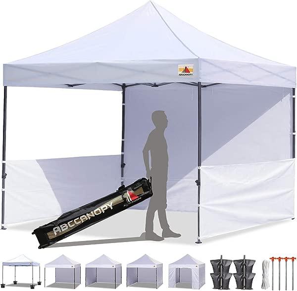 ABCCANOPY 10 X10 Pop Up Canopy Tent Commercial Instant Tent With 4 Removable Zipper End Side Walls And Roller Bag Bonus 4 SandBags 2 Half Walls