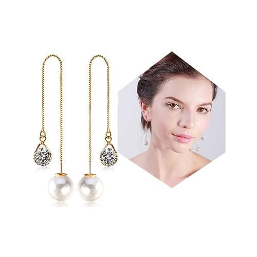 3b5a43781 Mintrayor Crystal Long Danling Earrings Pearl Threader Ear Drop Earrings  for Women Girls