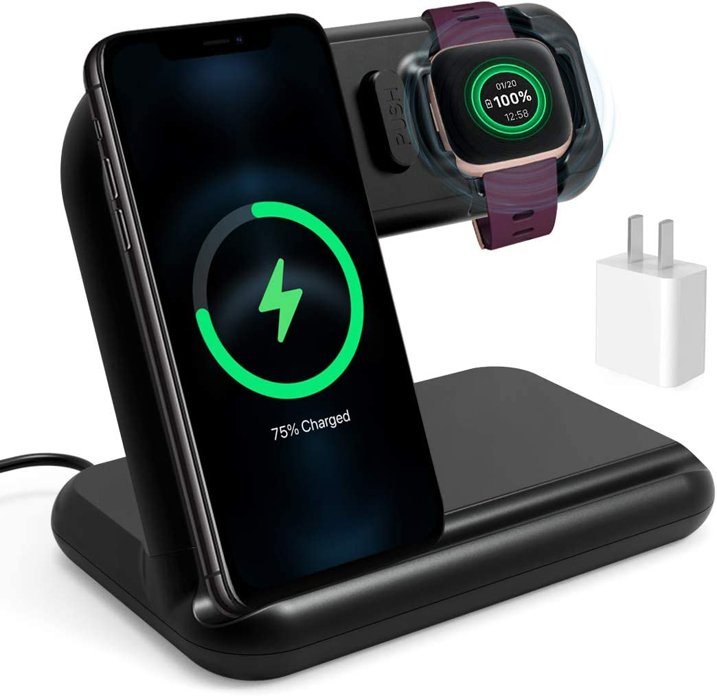 OenFoto 2 in 1 Wireless Charger Compatible with Fibit Versa 2 (N