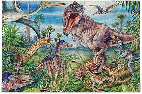 Dino Island Dinosaurio Defiende en la batalla Rompecabezas de madera Rompecabezas de bricolaje Regalo divertido Juego familiar Rompecabezas para adultos y niños, 1000 piezas 19.7 * 31.5 pulgadas