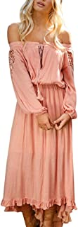 Women Sexy Solid Off Shoulder Lace Up Patchwork Elastic Band Long Sleeve Boho Maxi Dress