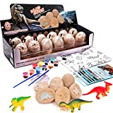 Lekebaby Dinosaur Eggs Dig Kit Dinosaur Excavation Kits with 12 Unique Dinosaur Toys Dino Egg Kit for Kids Easter Party Archaeology Paleontology Educational Science Gift