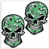 SkinoEu® 2 x PVC Laminado Adhesivos Pegatinas Calavera Cráneo Punisher para Motociclista Autos Coches Motos Ciclomotores Bicicletas Ordenador Portátil Regalo B 51