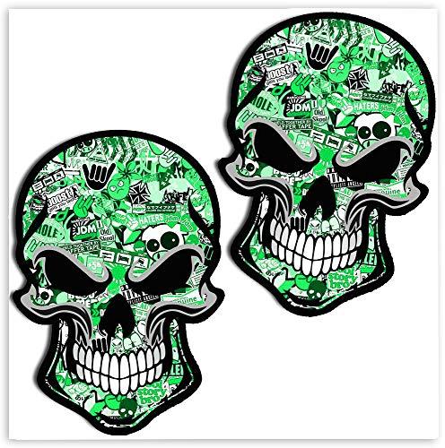 SkinoEu® 2 x Adesivi Vinile Stickers Punisher Cranio DC Stickers Bomb Verde per Auto Moto Finestrino Porta Casco Scooter Bici Motociclo Tuning B 51
