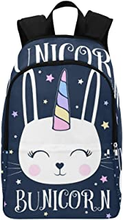 InterestPrint Casual Backpacks Unicorn Bunny Laptop Bag School Outdoor Travel Bags for Adults Men Women