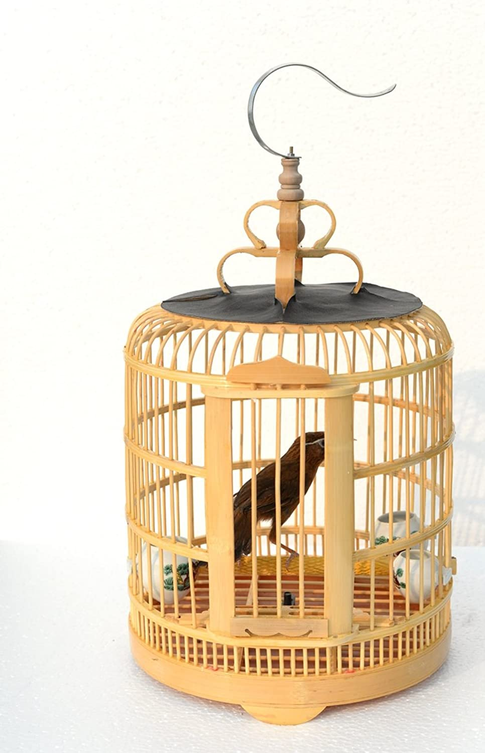 Handmade bamboo birdcage and pet products Parred cage bird cage [yellow and primary colors] (primary color)