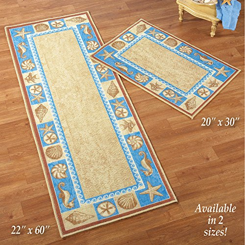 """Collections Sealife Floor Runner Coastal Décor Small Area Accent Rugs, 20"""" X 30"""""""