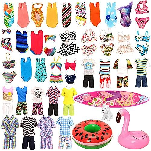 Miunana 12 Puppen Kleidung Puppenkleidung Kleider Zubehör Klamotten, 3 Strandkleidung für Junge Puppen, 5 Badeanzug 1 Surfbrett 2 Schwimmring 1 Hund für 11,5 Inch Puppen