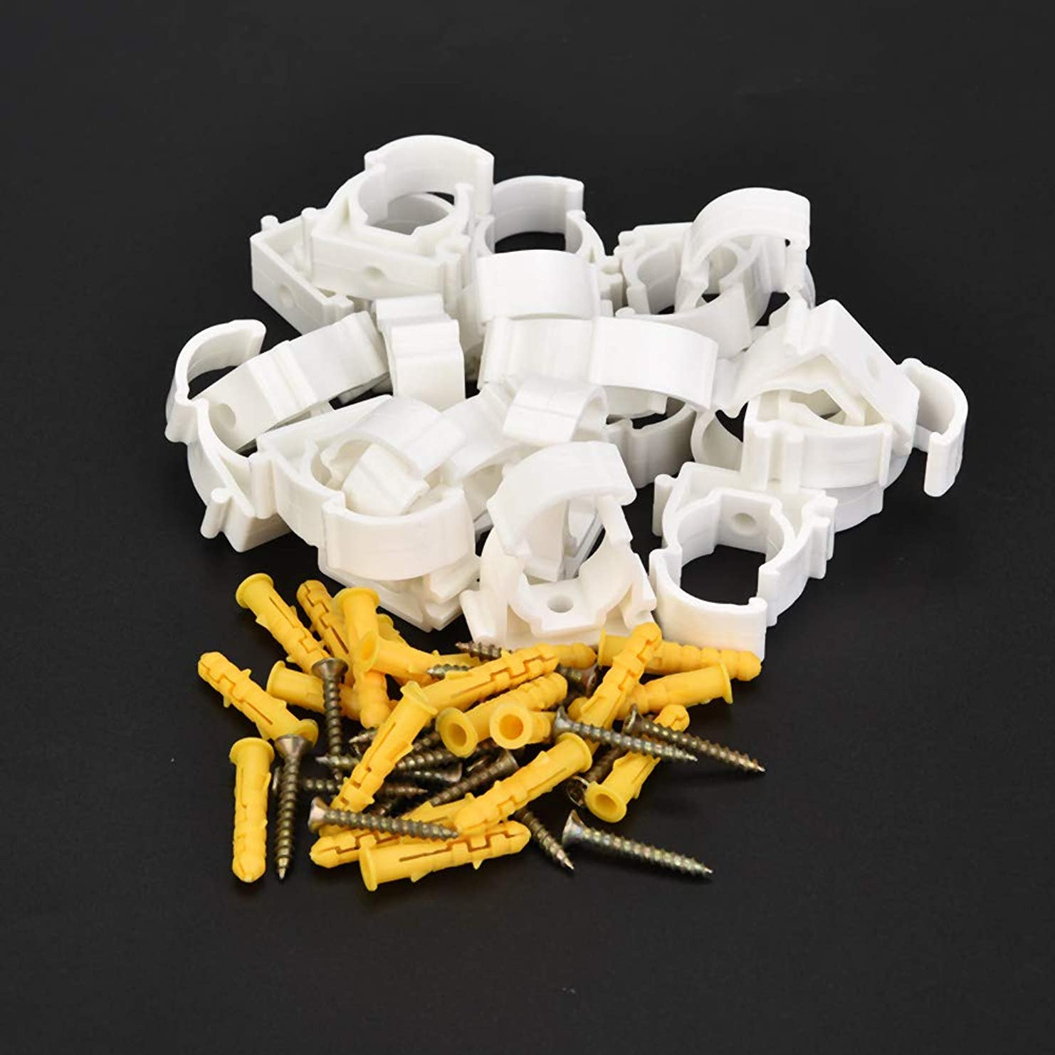 核狼カプラー高品質のガスパイプクランプ、水道管クランプクリップ、キッチンホーム屋内使用サポート水道管、ケーブルパイプ(20mm+screw 20pcs)