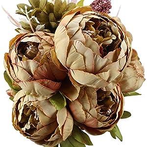 Ruiuzi Vintage Ramo de Flores de peonia Rosa, Artificial, para Boda decoración para el hogar (Bean)