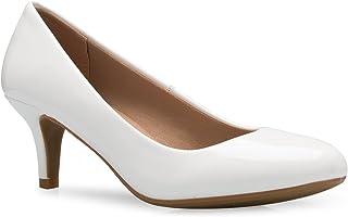 OLIVIA K Women's Comfort Classic Round Toe Kitten Low Mid Heel Dress Pumps