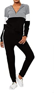 Ladies 2-Piece Pearl Trim Soft Velour Drawstring Hooded Pocket Sweatshirt Top and Cuffed Double Pocket Leggings Tracksuit Loungewear Set Black Grey Khaki Navy Nude 8 10 12 14