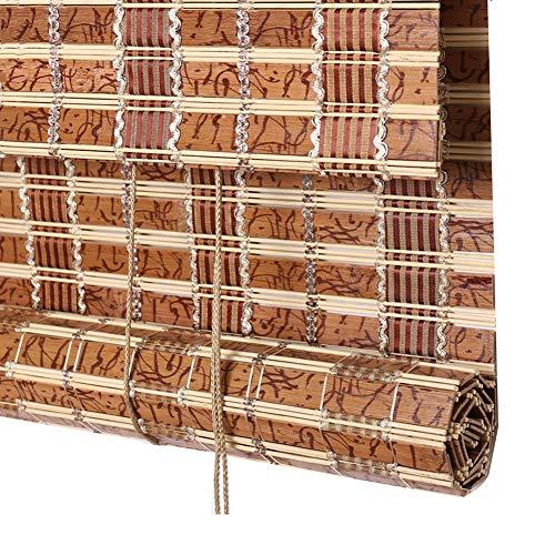 LIANGJUN bamboe gordijn rolgordijn jaloezie strak geweven brede bamboe schaduw rolgordijnen winddicht Roll Type Pull Tope balkon woonkamer, aanpasbaar