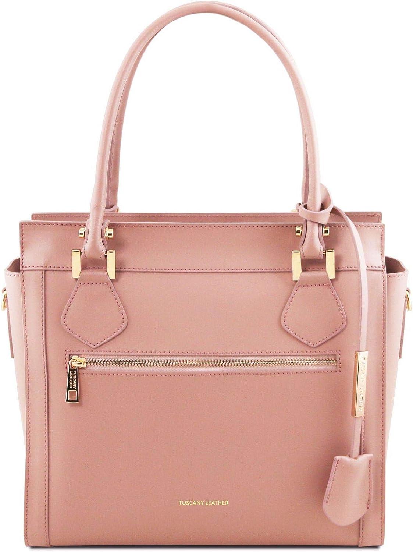 Tuscany Leather Lara Ruga Leather Handbag with Front Zip  TL141644 (Ballet Pink)