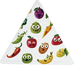 Hitecera Emoji Novelty Triangle Tin Sign,Fruits and Vegetables Carrot Banana Pepper Onion Garlic Food Cartoon Style Symbols for Cafes,14