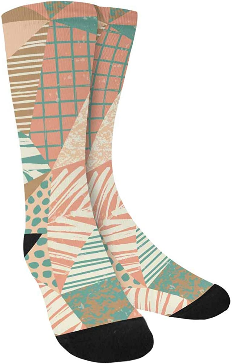 INTERESTPRINT Trendy Exotic Pattern with Palm Outdoor Casual Novelty Custom Socks
