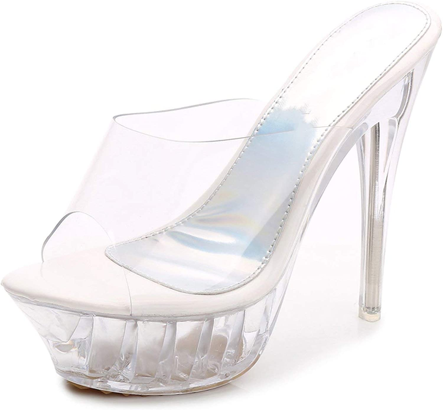 High Heels Womens Sandals Transparent Crystal Heel Model T Stage Sexy Lady Heeled shoes 35-43,1456white,11