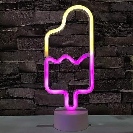 Popsicle Neonlicht LED Neon Ice Cream Lichter Kunst Wand dekorative Lichter Neon Zeichen f/ür Zimmer Wand Kinder Schlafzimmer Geburtstag Party Bar Decor