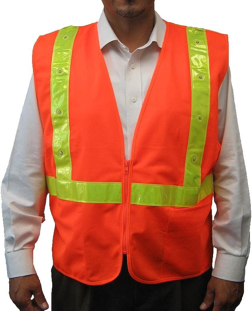 3C SV-LED-2270, ANSI/ISEA Class 2, High Vis Safety Vest, LED Lights w/Yellow PVC Reflective, Zipper, Pockets, Neon Orange