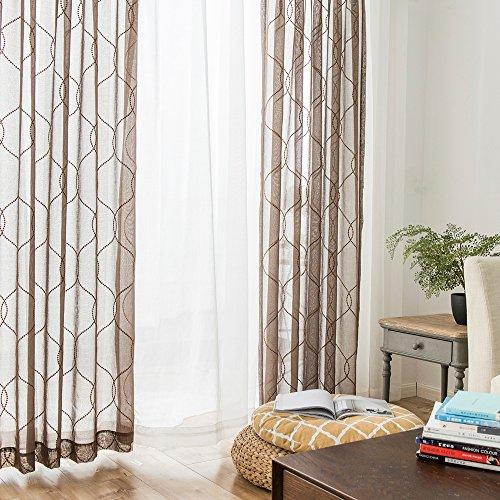TOPICK 2 Stück Voile Welle Bestickt Vorhänge mit Ösen. Vorhang Gardinen geeignet für Balkon 140 cm x 245 cm (B x H) Braun