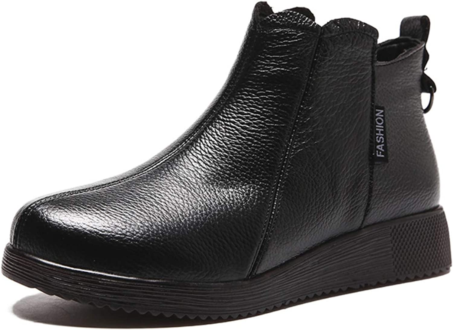Women's ankle boots full round leather retro booties in upper layer European and American style national autumn and winter new flat shoes,Black,38EU
