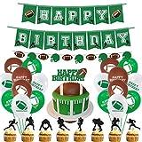 Décorations de Fête d'anniversaire de Football, ballon de football ensemble de fournitures de Fête avec Guirlande Joyeux Anniversaire, Ballons en latex et Cake Toppers pour Garçon Hommes