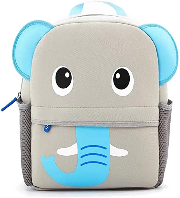 Toddler Backpack, Waterproof Preschool Backpack, 3D Cute Cartoon Neoprene Animal Schoolbag, Lunch Box Carry Bag for 1-6 Years Boys Girls, Elephant