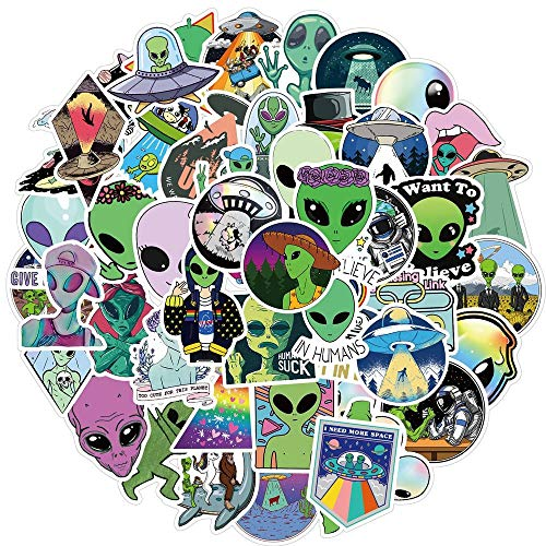 ZXXC 50Pcs Outer Space Stickers For Children Alien Ufo Astronaut Sticker To Laptop Cup Car Motorcyle Notebook Kids Classic Toy