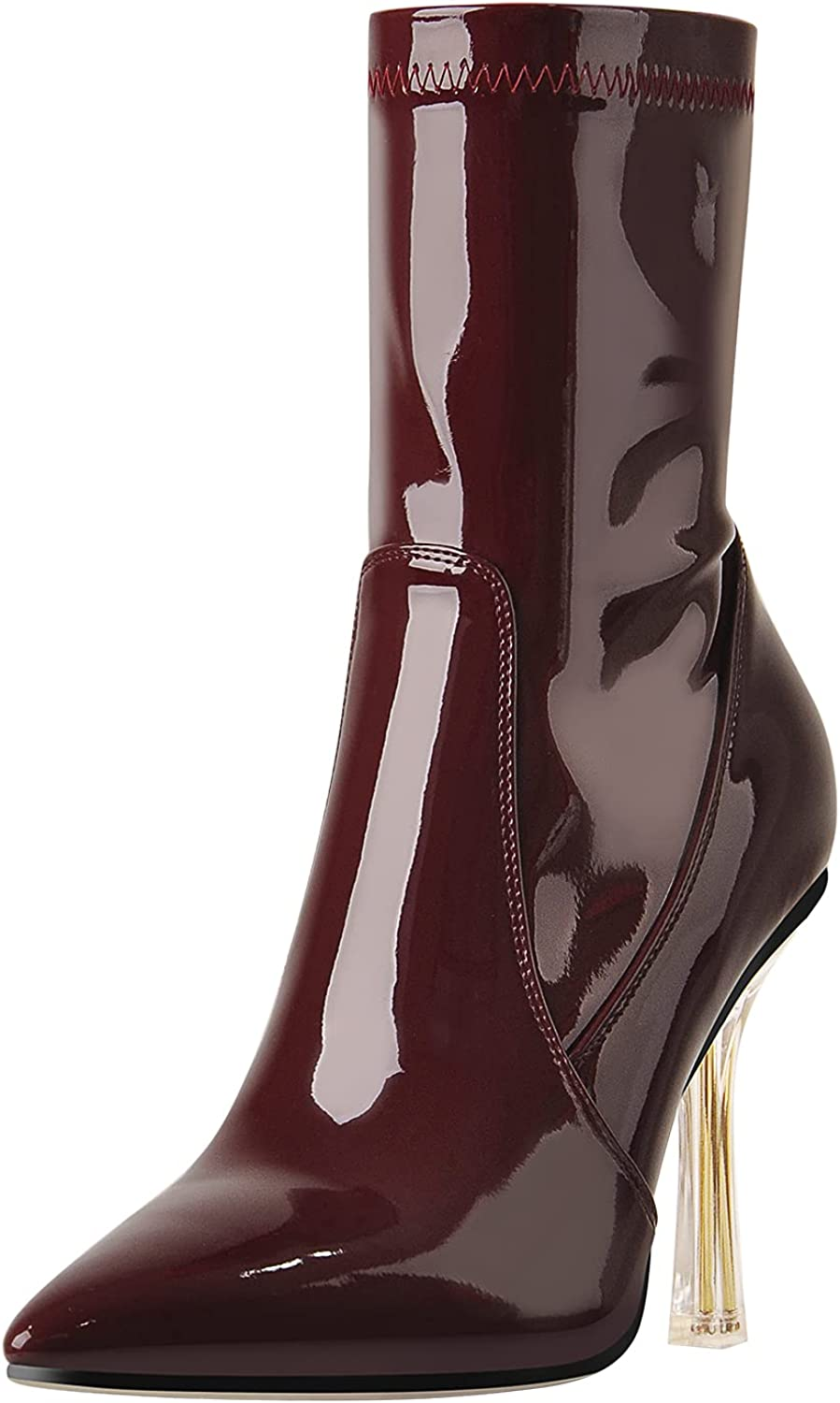 LISHAN Women's Pointed Toe Directly managed store Zip Up Heel High Finally popular brand Boots Ankle