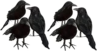 6pcs Real Touch Black Feathered Small Crows Birds Ravens for Halloween Decor