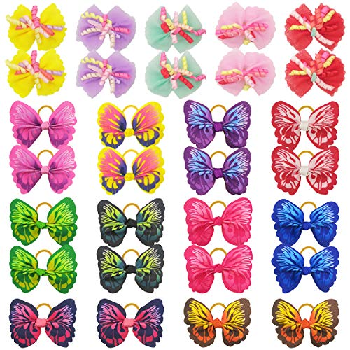 30PCS/15Pairs Dog Hair Bows with Rubber Bands Butterfly Dog Knotted Bows Curly Hair Bows Elastic Hair Ties Bands Pets Dogs Cats Grooming Accessories