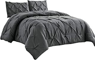 WPM 2 Piece Microfiber Comforter Set Pinch Pleat Pintuck Down Alternative Bedding - All Season Grey Bedroom Decor- JN1 (Gr...